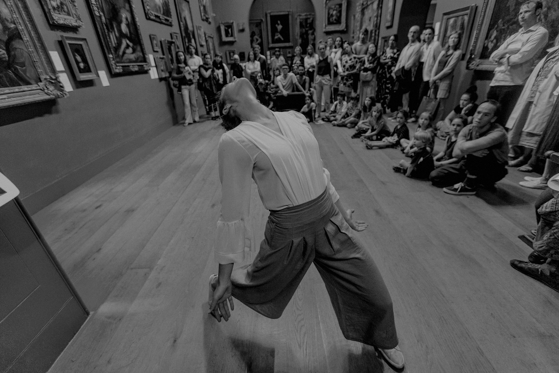 Dancer Chloe Mead performing in Dulwich Picture Gallery
