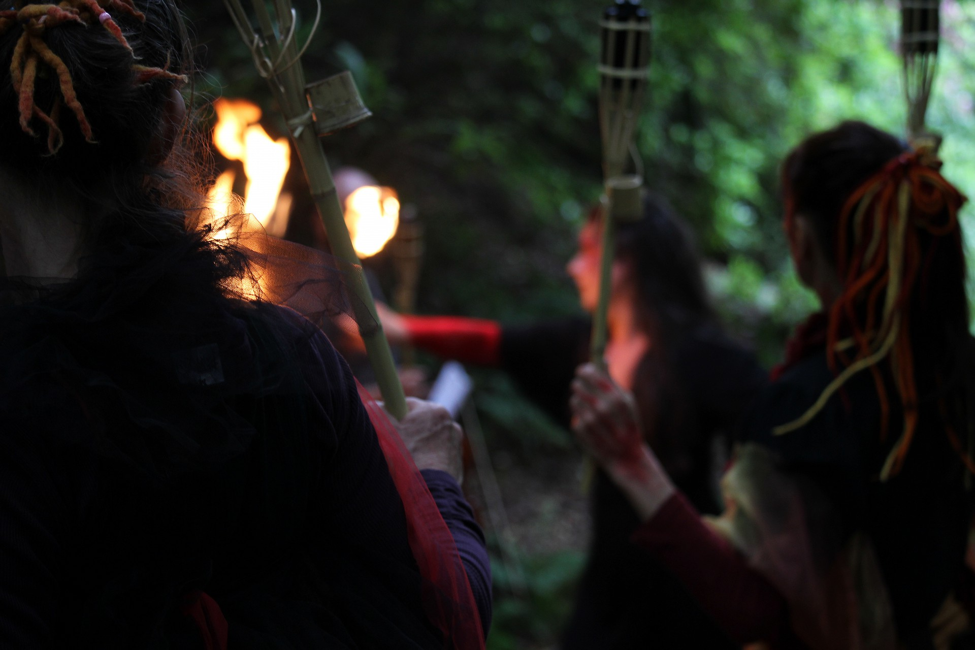 Dancers lead audience members by torchlight