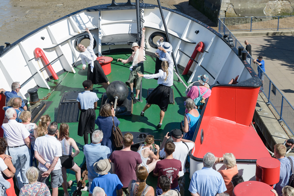 An image of dancers performing on board LV21, a light vessel ship transformed into an arts venue
