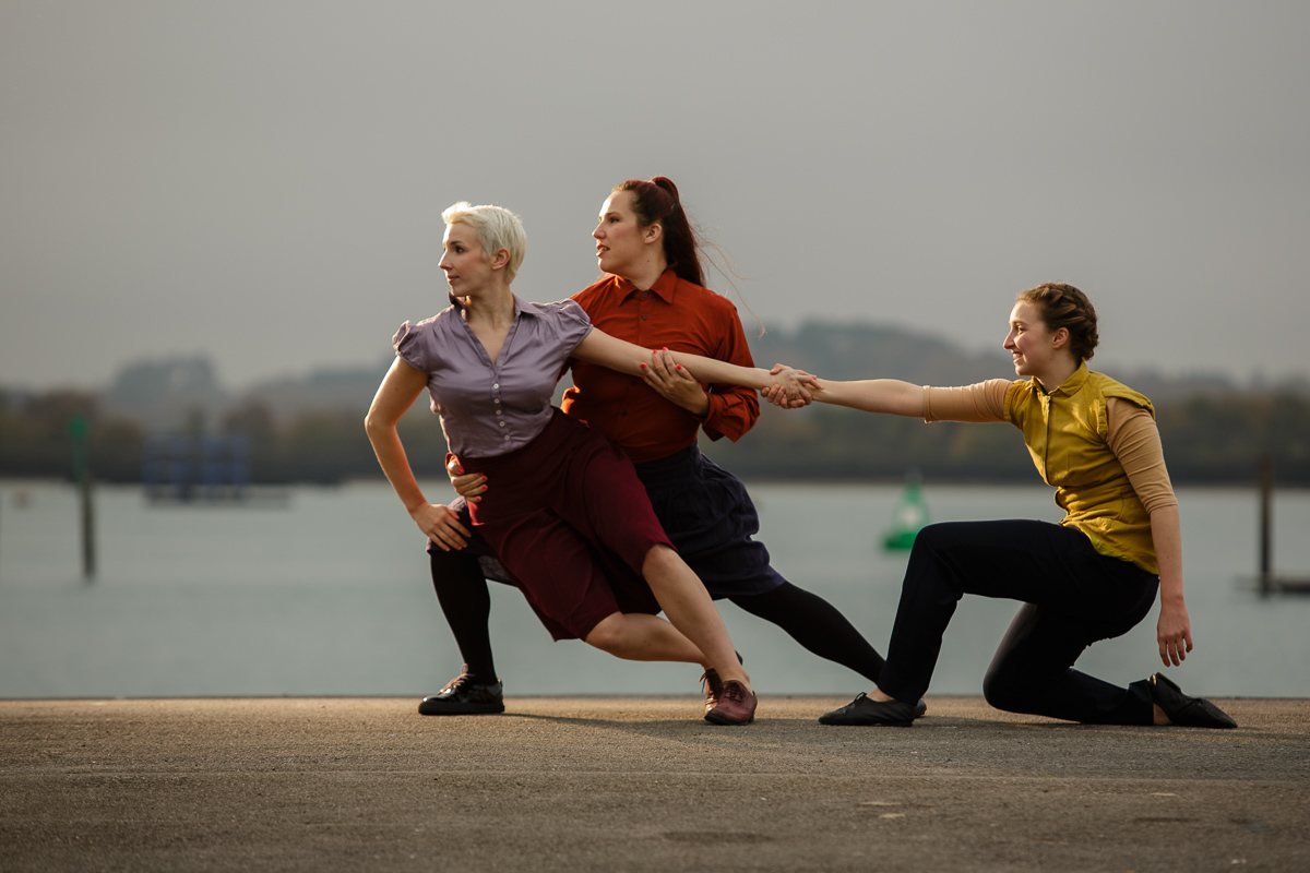 3 dancers performing The Imagination Museum on-site in Southampton