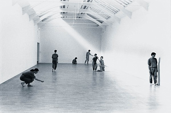 Images of dancers in a gallery - work by Rosemary Butcher