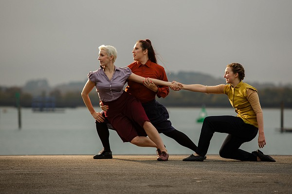 Picture of 3 dancers performing The Imagination Museum: Mayflower 400 in Southampton