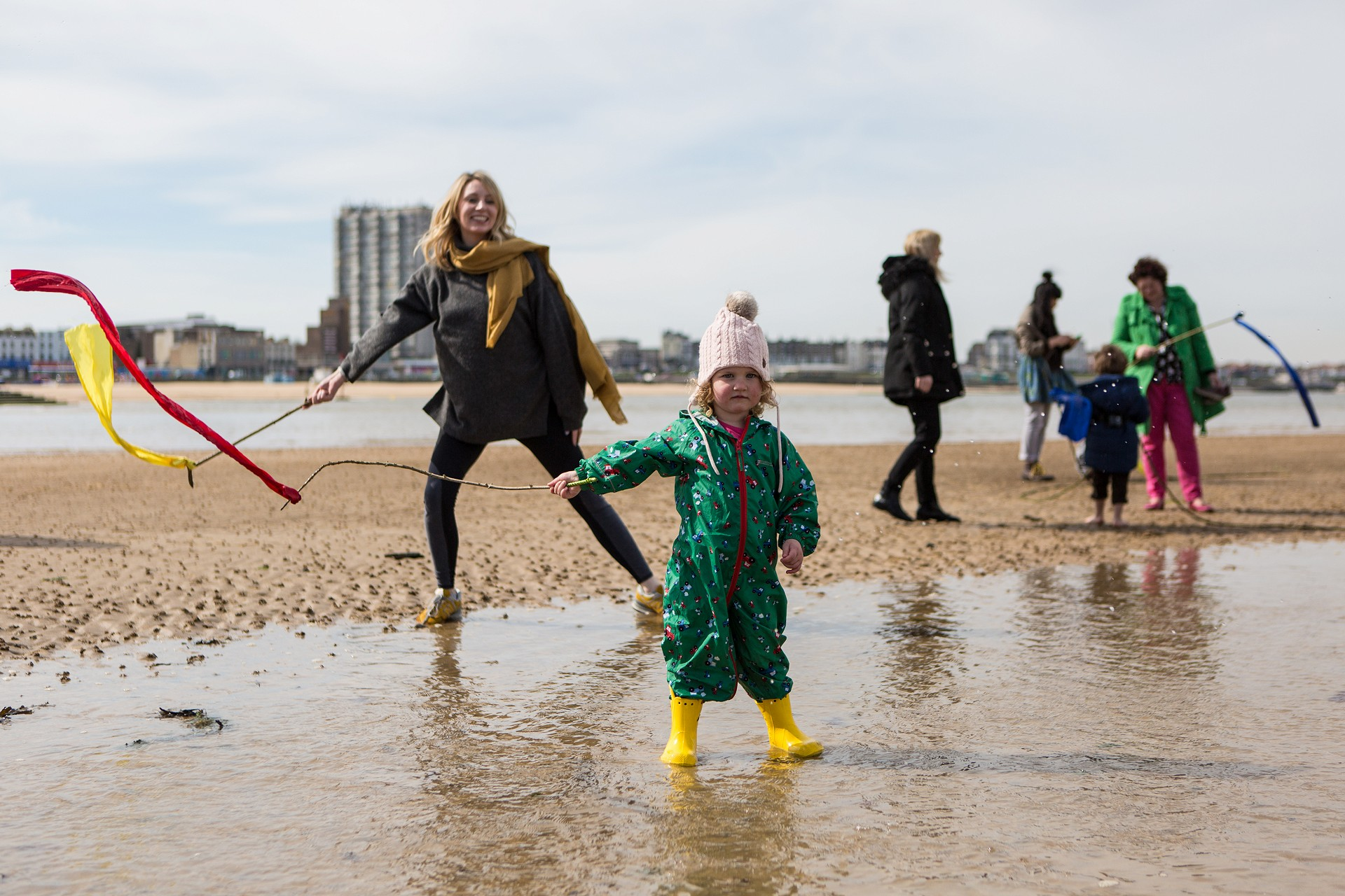 The Tide and Seek project taking place with children and families on Margate Beach